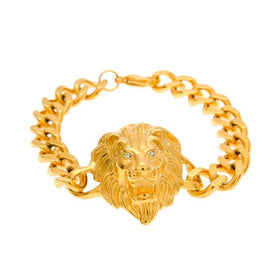 LION HEAD CUBAN BRACELET - GOLD - CLOUT CULTURE