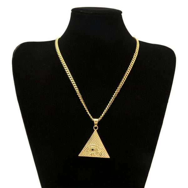 EYE OF HORUS PYRAMID CHAIN  - GOLD - CLOUT CULTURE