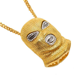 ICED OUT SKI MASK CHAIN  - GOLD - CLOUT CULTURE