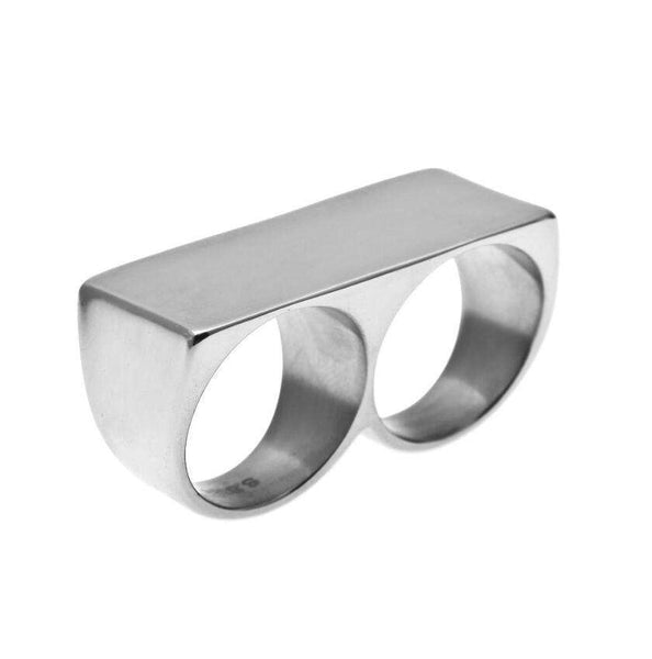 THICK KNUCKLEBAR RING - SILVER - CLOUT CULTURE