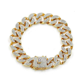 ICED OUT CUBAN BRACELET - GOLD - CLOUT CULTURE