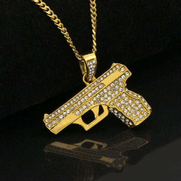 ICED OUT HANDGUN CHAIN - GOLD - CLOUT CULTURE