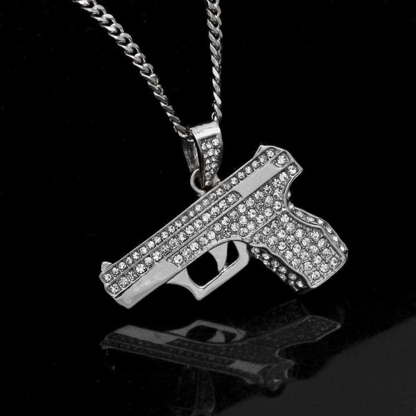 ICED OUT HANDGUN CHAIN - SILVER - CLOUT CULTURE