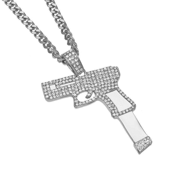 ICED OUT PISTOL CHAIN - SILVER - CLOUT CULTURE