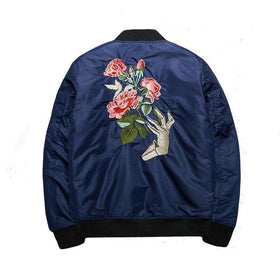 ROSE BOMBER JACKET - BLUE - CLOUT CULTURE