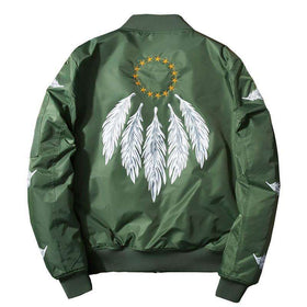 DREAMCATCHER BOMBER JACKET - ARMY GREEN - CLOUT CULTURE