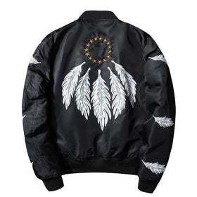 DREAMCATCHER BOMBER JACKET - BLACK - CLOUT CULTURE