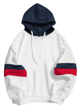 STRIPED RETRO HOODIE - WHITE BLUE/RED - CLOUT CULTURE