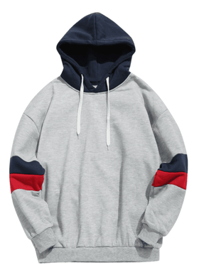 STRIPED RETRO HOODIE - GREY BLUE/RED - CLOUT CULTURE