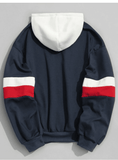 STRIPED RETRO HOODIE - BLUE WHITE/RED - CLOUT CULTURE