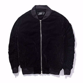 VELVET BOMBER JACKET - BLACK - CLOUT CULTURE