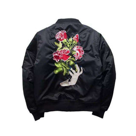 ROSE BOMBER JACKET - BLACK - CLOUT CULTURE