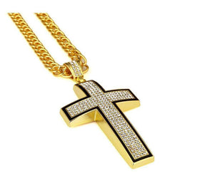ICED OUT CROSS CHAIN - GOLD - CLOUT CULTURE