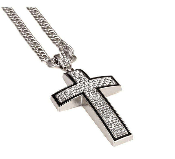 ICED OUT CROSS CHAIN - SILVER - CLOUT CULTURE