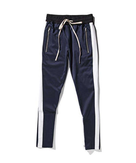 RETRO PANTS - NAVY BLUE/WHITE - CLOUT CULTURE