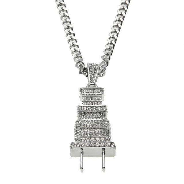 ICED OUT PLUG CHAIN - SILVER - CLOUT CULTURE