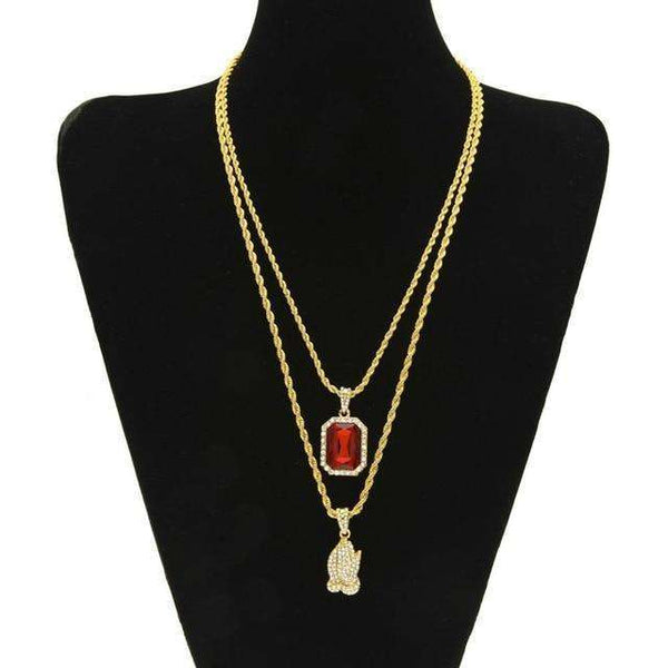 JEWELRY SET - PRAYING HANDS & RED GEM - CLOUT CULTURE