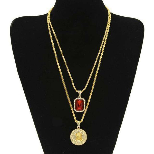 JEWELRY SET - JESUS & RED GEM - CLOUT CULTURE