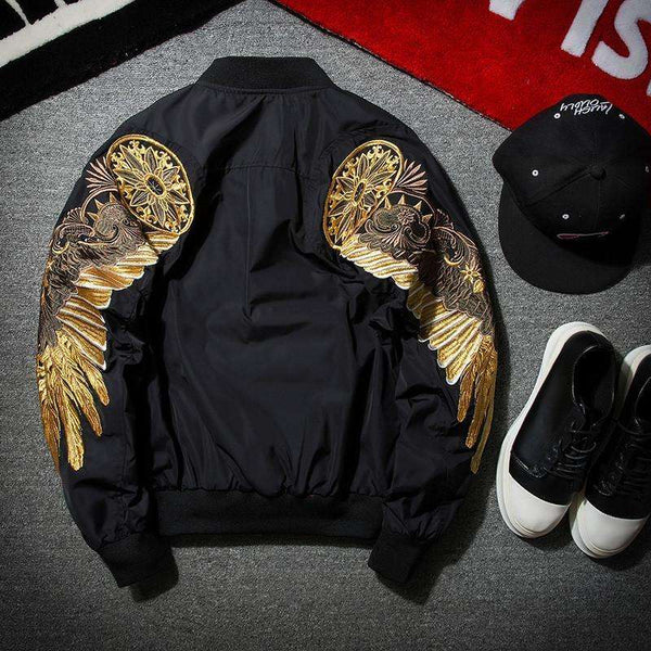 EAGLE BOMBER JACKET - BLACK - CLOUT CULTURE