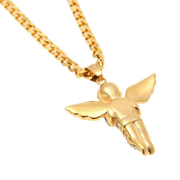 ICED OUT ANGEL CHAIN - GOLD - CLOUT CULTURE
