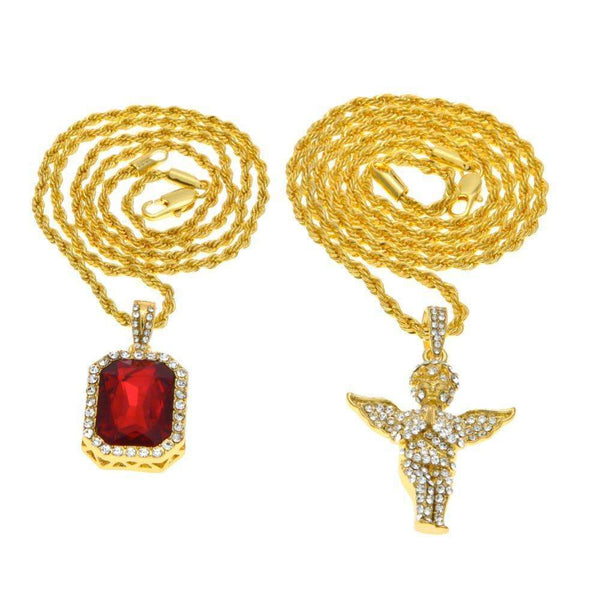 JEWELRY SET - ANGEL & RED GEM - CLOUT CULTURE