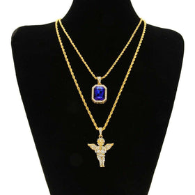 JEWELRY SET - ANGEL & BLUE GEM - CLOUT CULTURE