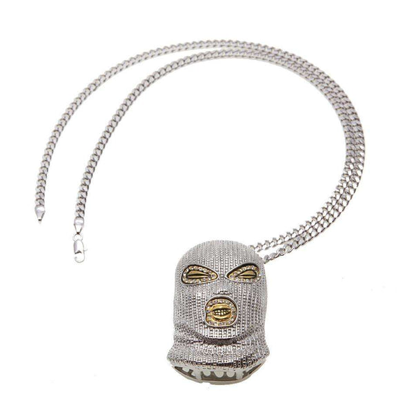 ICED OUT SKI MASK CHAIN  - SILVER - CLOUT CULTURE
