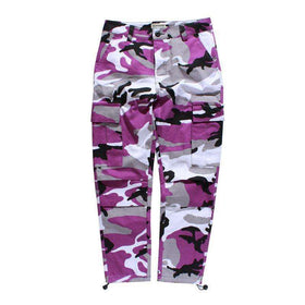 CAMOUFLAGE CARGO PANTS - PURPLE - CLOUT CULTURE