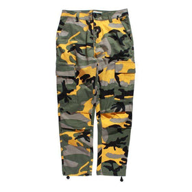 CAMOUFLAGE CARGO PANTS - YELLOW - CLOUT CULTURE