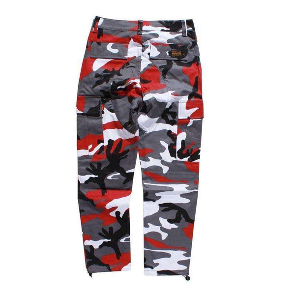CAMOUFLAGE CARGO PANTS - RED - CLOUT CULTURE