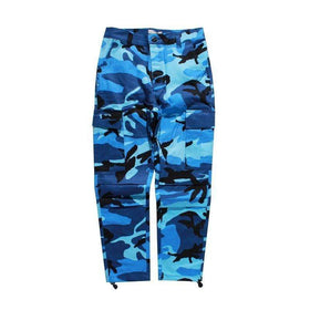 CAMOUFLAGE CARGO PANTS - BLUE - CLOUT CULTURE