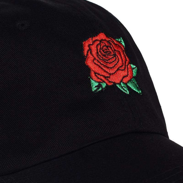 BIG ROSE DAD HAT - BLACK - CLOUT CULTURE