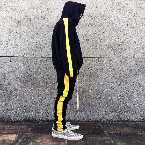 RETRO HOODIE - BLACK/YELLOW - CLOUT CULTURE