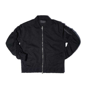 PREMIUM DOUBLE ZIPPER BOMBER JACKET - BLACK - CLOUT CULTURE