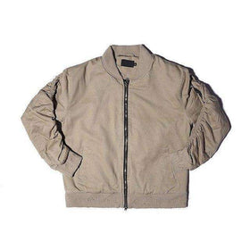 PREMIUM DOUBLE ZIPPER BOMBER JACKET - BEIGE - CLOUT CULTURE