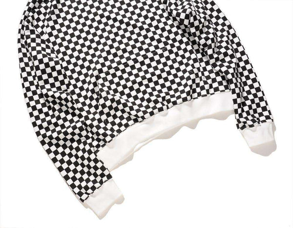 CHECKERED HOODIE - BLACK/WHITE - CLOUT CULTURE