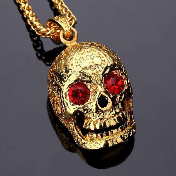 RUBY EYED SKULL CHAIN - GOLD - CLOUT CULTURE