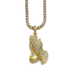ICED OUT PRAYING HANDS CHAIN - GOLD - CLOUT CULTURE