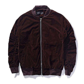 VELVET BOMBER JACKET - BROWN - CLOUT CULTURE