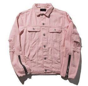 DENIM JACKET ESSENTIAL - PINK - CLOUT CULTURE