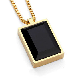SQUARED BLACK GEM CHAIN - GOLD - CLOUT CULTURE