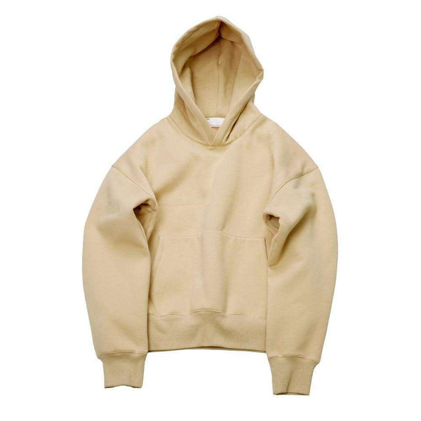 CUSTOM LONG SLEEVE HOODIE - BEIGE - CLOUT CULTURE