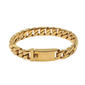 CURVED CUBAN BRACELET - GOLD - CLOUT CULTURE