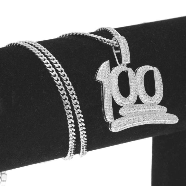 "ICED OUT ""100"" CHAIN - SILVER - CLOUT CULTURE"