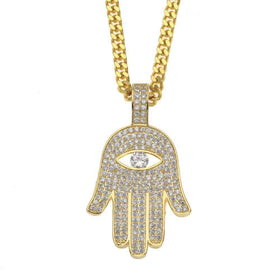 ICED OUT HAMSA CHAIN - GOLD - CLOUT CULTURE