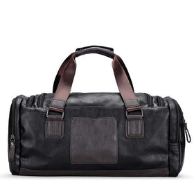 LUXURY DUFFLE BAG - BLACK/BROWN - CLOUT CULTURE