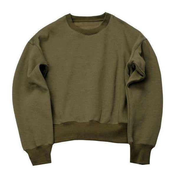 CUSTOM LONG SLEEVE SWEATSHIRT - OLIVE GREEN - CLOUT CULTURE