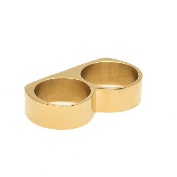 ICED OUT KNUCKLEBAR RING  - GOLD - CLOUT CULTURE