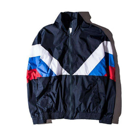 ATHLETIC WINDBREAKER JACKET - NAVY BLUE - CLOUT CULTURE