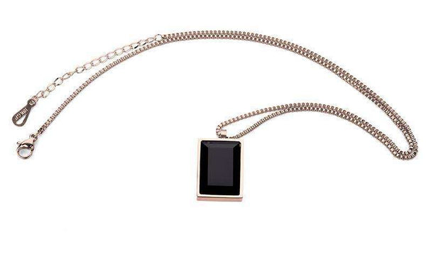 SQUARED BLACK GEM CHAIN - ROSE GOLD - CLOUT CULTURE
